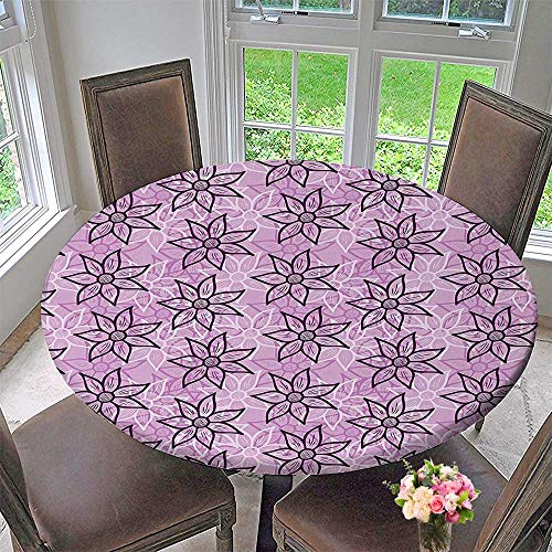 Mikihome Round Fitted Tablecloth Macro Design with Glamour Leaves Inspired Charm Style Violet for All Occasions 47.5