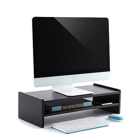 RFIVER Soporte para Monitor Elevador para Pantalla de Ordenador Portátil con 2 estantes 55 x 23.8