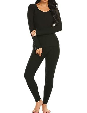 8329430922af Ekouaer Long Thermal Underwear Fleece Lined Winter Base Layering Set for  Women Fleece-black Small