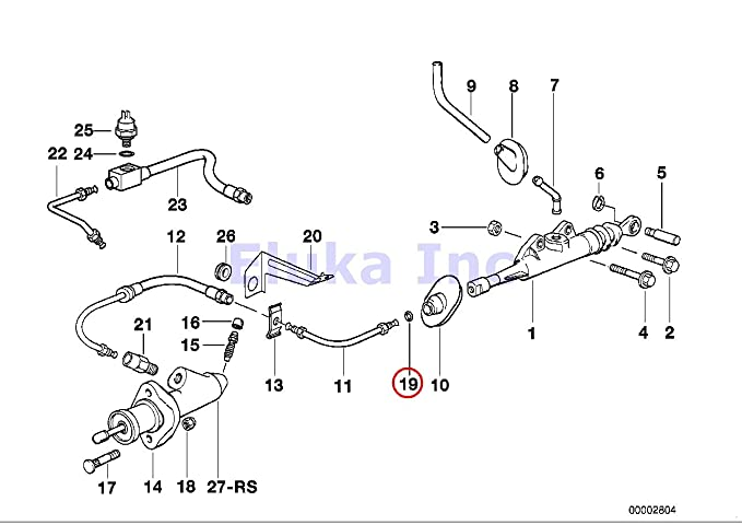 Amazon.com: BMW Genuine Clutch Pipe O-Ring With Clip - Clutch Master Cylinder To Pipe 318i 318is 318ti 320i 323i 325i 325is 328i M3 M3 3.2 525i 528i 530i ...