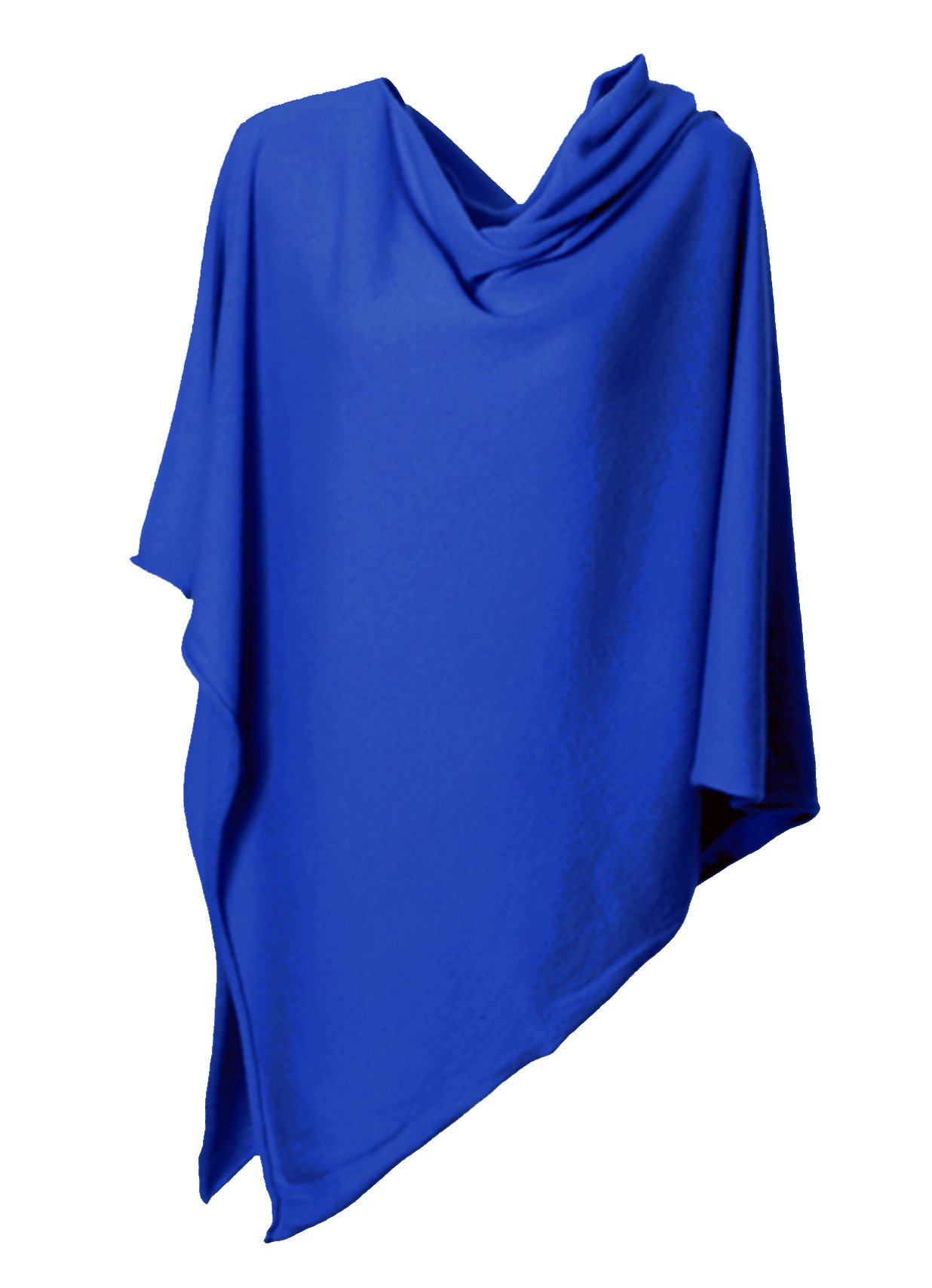 Anna Kristine Pure Cashmere Asymmetrical Draped Poncho - French Blue