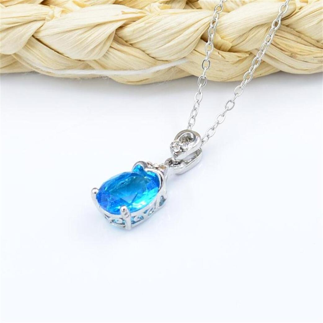 LLguz Women Elegant Design Water Drop Crystal Aquamarine-encrusted Colored Gemstone Pendant Necklace Pendant Necklace