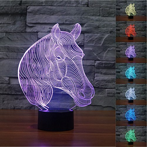 (SUPERNIUDB Novelty Animal zebra 3D Night Light 7 Color Change LED Table Lamp Xmas Toy Gift)