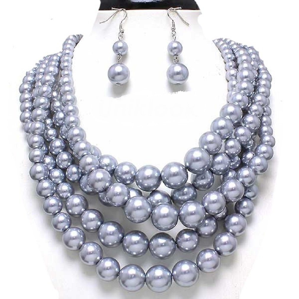 Statement Beaded Layered Strands Gray Grey Simulated Pearl Beads Silver Chain Necklace Earrings Set Gift Bijoux