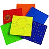 """Excellerations 9"""" Colorful Double-Sided Safe Sturdy Geoboards Set of 6 Boards 144 Rubberbands (Item # SYMMETRY)"""