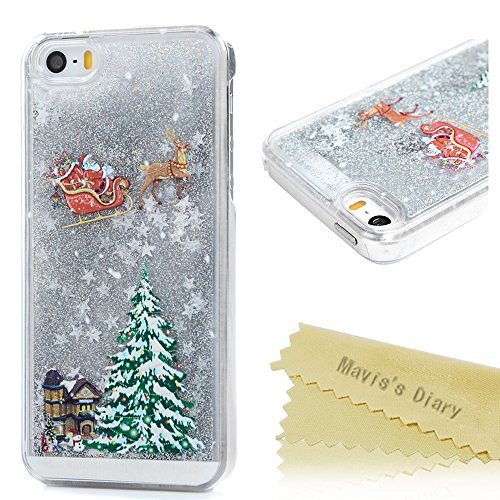 Mavis's Diary iPhone SE Case,iPhone 5S Case,iPhone 5 Case 3D Bling Flowing Liquid Design Christmas Tree Santa Claus Riding Sled Pattern Clear Case Hard PC Cover - Silver Liquid and White Stars