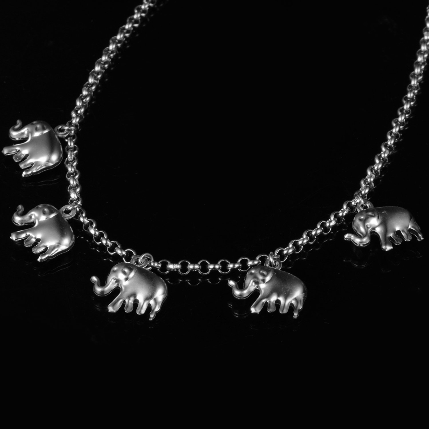 New Stainless Steel Elephant Jewelry Choker NecklaceTrendy Lucky Charm Chain Gifts N50156