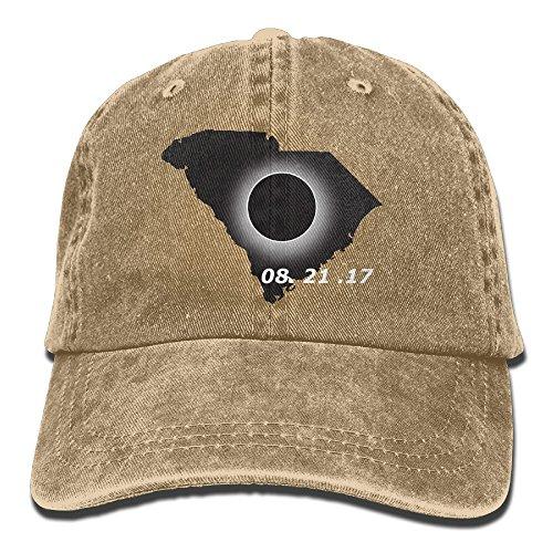 BEMYSELF Unisex Adult South Carolina Flag Solar Eclipse 2017 Washed Denim Cotton Sport Outdoor Baseball Cap Trucker Cap Adjustable One Size Natural