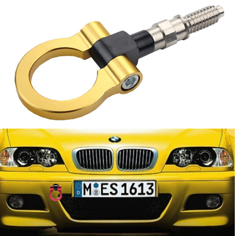 Dewhel JDM Aluminum Track Racing Front Rear Bumper Car Accessory Auto Trailer Ring Eye Towing Tow Hook Kit Gold Screw On For BMW 1 3 5 Series X5 X6 E36 E39 E46 E82 E90 E91 E92 E93 E70 E71 MINI Cooper by Dewhel