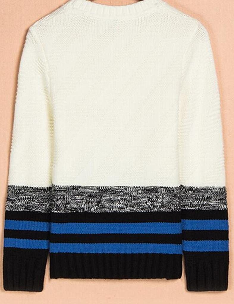 YYG-Men Casual Fit Color Block Crew-Neck Knitted Pullover Sweater