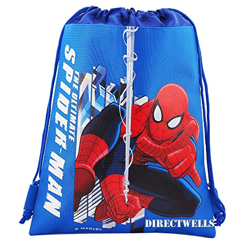 Ultimate Spiderman Drawstring Backpack (BLUE) (Man Drawstring Spider)