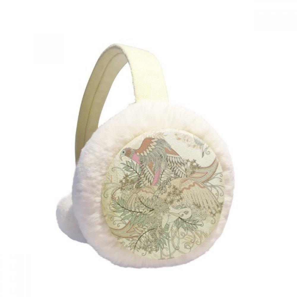 Flower Tree Bird Ukiyo-e Leaves Winter Earmuffs Ear Warmers Faux Fur Foldable Plush Outdoor Gift