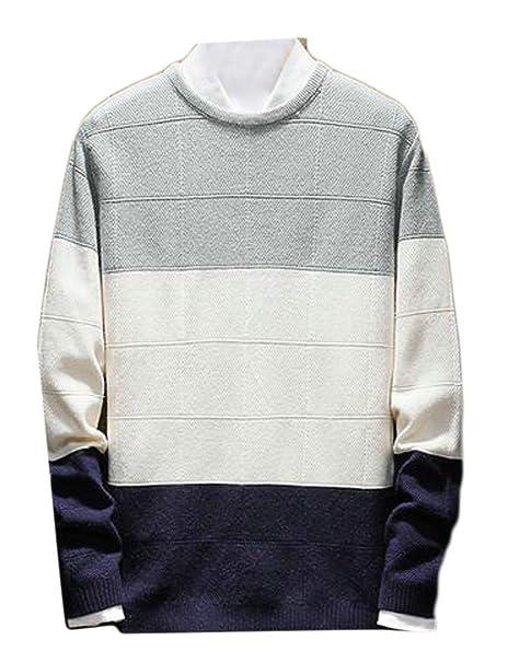 6b47383f6 Alion Mens Stylish Color Block Crewneck Long Sleeve Comfort Knit ...