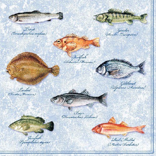 4 Paper Napkins for Decoupage - 3-ply, 33 x 33cm - Party Fishes (4 Individual Napkins for Craft and Napkin Art.) Tigers on the Loose