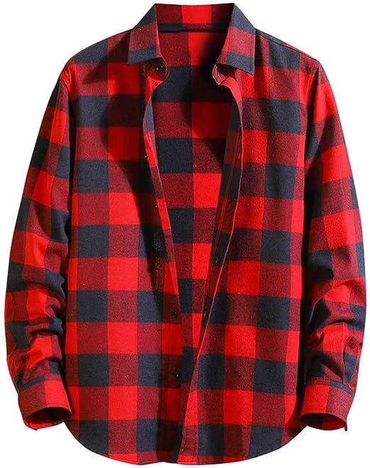 ღLILICATღ Hombre Camisa a Cuadros Casual de Suelto Solapa Manga Larga Shirt Algod¨n Slim Fit Negro Rojo Verde Azul M-3XL: Amazon.es: Jardín