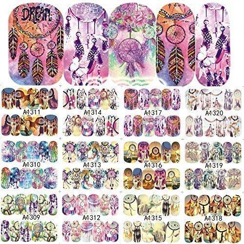 (12 sets Modern Boho Mandala Mehndi NAIL ART STICKERS Native American Indian dream catcher tassel NAIL DECALS gods eye sanskrit Hindu water transfer cosplay nail tatoo nail vinyls French tip sticker)