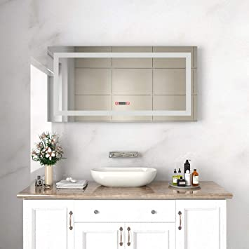 48 vanity mirror build in sunny shower frameless backlit led bathroom mirror 48quotx 24quot wall mount vanity amazoncom 48
