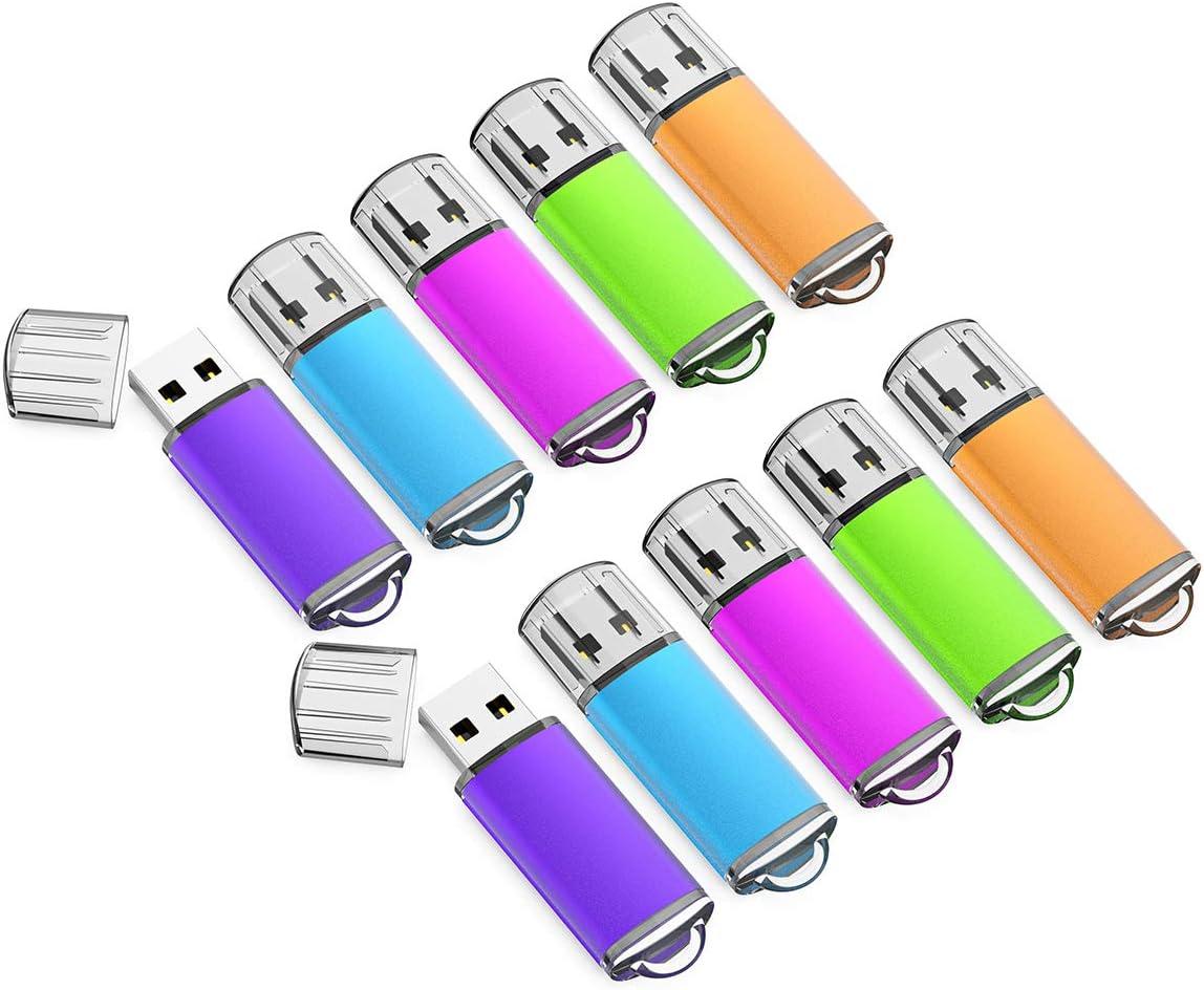 16GB USB Flash Drive 10 Pack Easy-Storage Memory Stick K&ZZ Thumb Drives Gig Stick USB2.0 Pen Drive for Fold Digital Data Storage, Zip Drive, Jump Drive, Flash Stick, Mixed Colors
