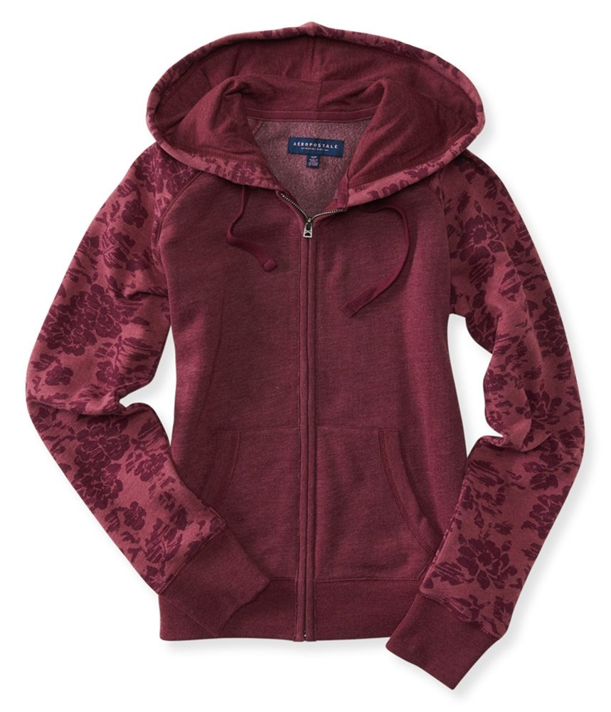 Aeropostale Womens Floral Hoodie Sweatshirt Purple XL - Juniors by Aeropostale