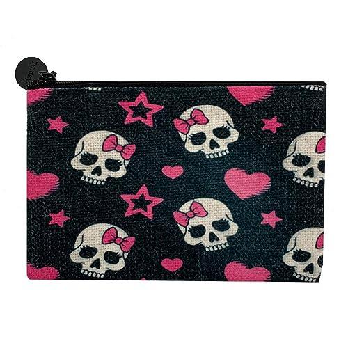 Pink sugar skull. coin purse Handmade fabric zipped purse wallet coin bag