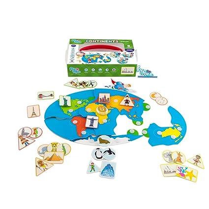Amazon.com: Picnmix Continents World Map Sticker Puzzle Educational ...