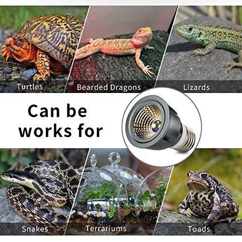Honpal Led Reptile Light, LED UVA + UVB Sun Lamp for Amphibian Turtle Bearded Dragons Chameleon Lizard and Snake to Reptile Heat lamp.(3W)