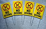 4-Pc Eloquent Unique No Diving Symbol Yard Signs Outdoor Warning Beach Coroplast Board Decal Swimming Sign At Your Own Risk Swim Post Keep Water Allowed Pools Rules Decor Size 8''x12'' w/ Stake