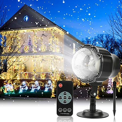Elec3 Christmas Projector Light Outdoor Snowfall LED Projector Waterproof Rotating Snow Projection with RF Remote Snow Decorative Projector for Christmas, Halloween Party, Wedding, Garden, Yard