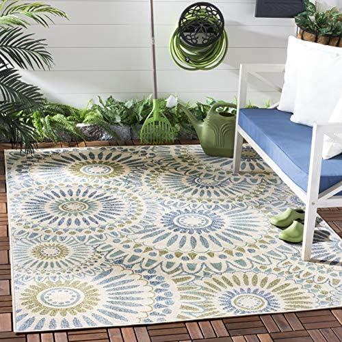 Safavieh Veranda Collection VER091 Boho Floral Indoor/ Outdoor Non-Shedding Stain Resistant Patio Backyard Area Rug