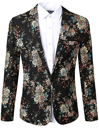 JASSYOY Mens Lightweight Floral One-Button Suit Blazer Black