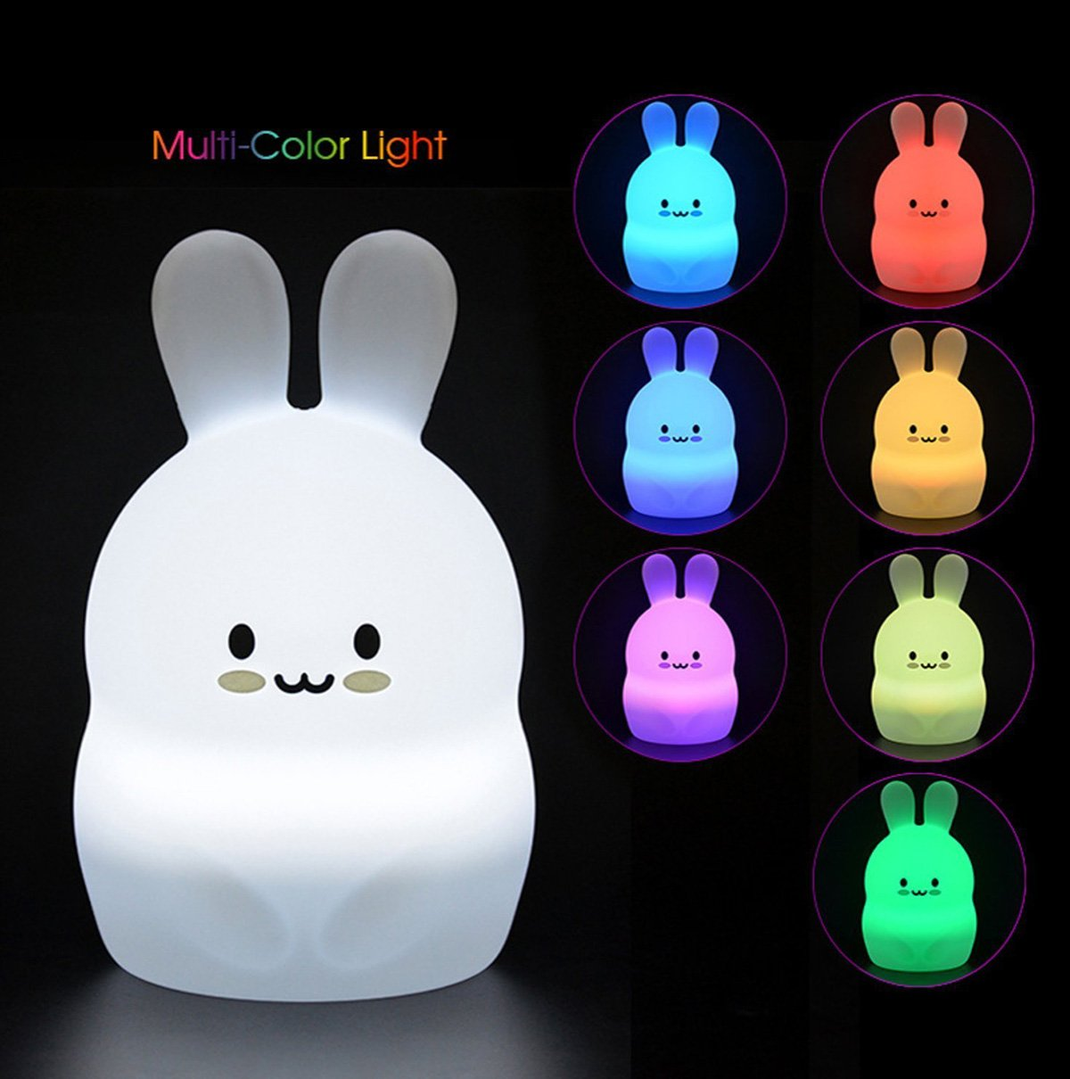 Baby Night Light Nursery Lamp, Cute Portable LED Bunny Night Light, Silicone Tap Control Night Lamp for Kids & Children - 4 Lighting Modes/ 8-Colors/USB Rechargeable