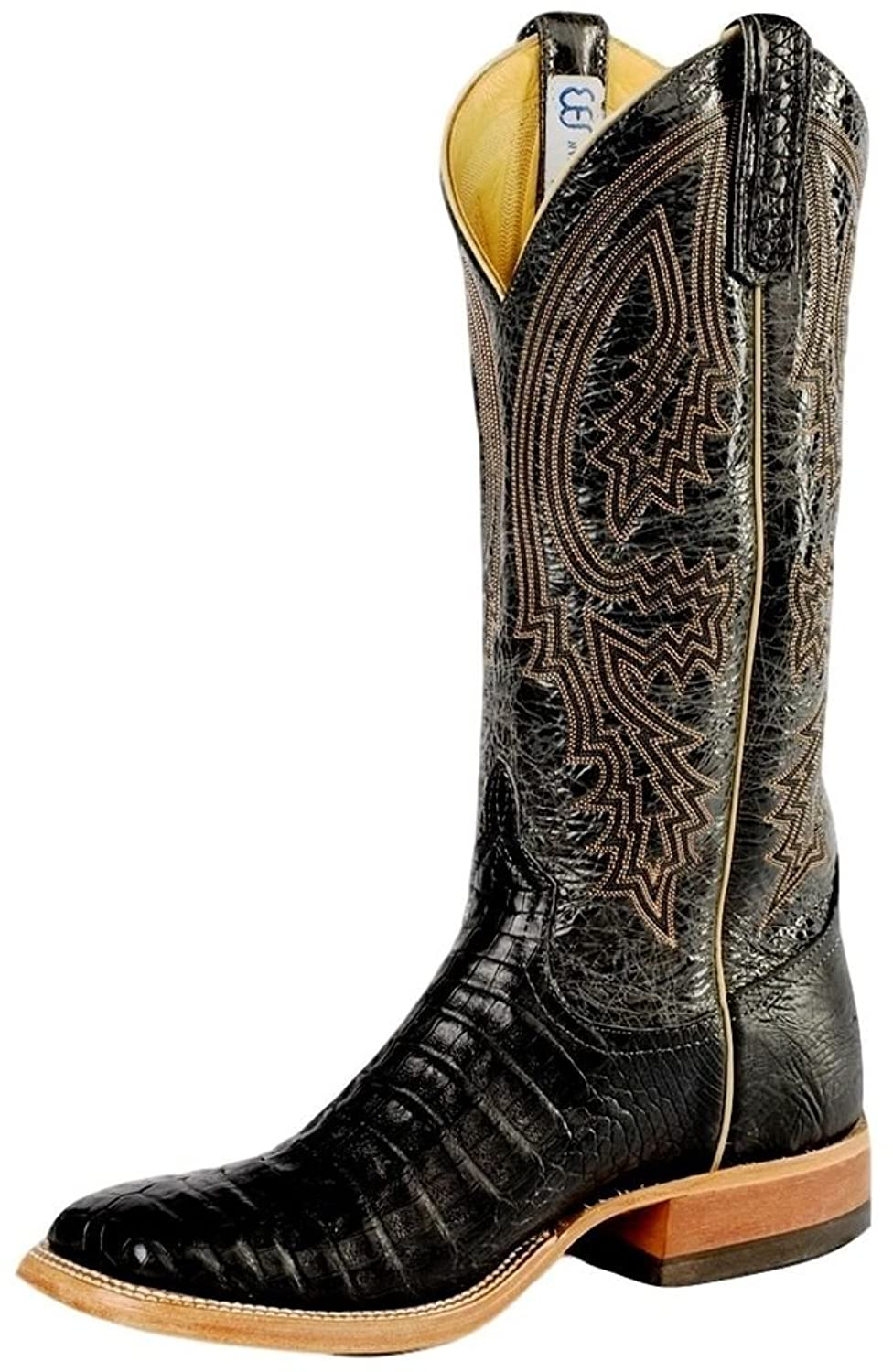 Anderson Bean Western Boots Mens Leather Caiman Belly Edgy Black S1104