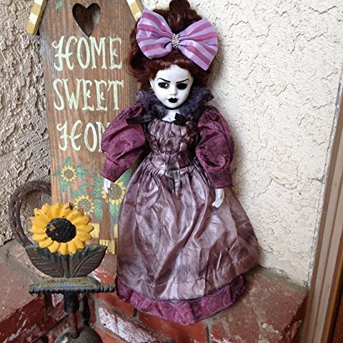 Victorian Mourning Lady with Bow Creepy Horror Doll by Bastet2329 Christie Creepy Dolls -