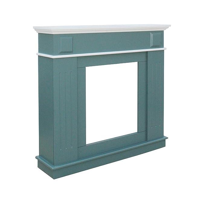 rebecca mobili Marco de Chimenea Falsa para Pared Decoración Moderna Madera Mdf Blanco Verde Dormitorio Sala de Estar (Cod. RE6054)