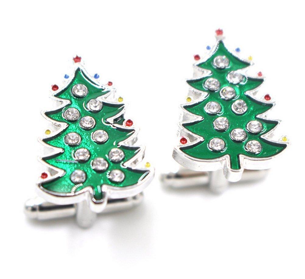 daorier 2× Gemelli di forma di albero di Noel Camicia Maniche degli uomini semplice regalo pulsante gioielli per uomini matrimonio