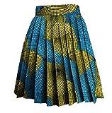 Vska Women's Floral Print Batik Dashiki A-Line Africa Dance Pleated Skirt 4 3XL