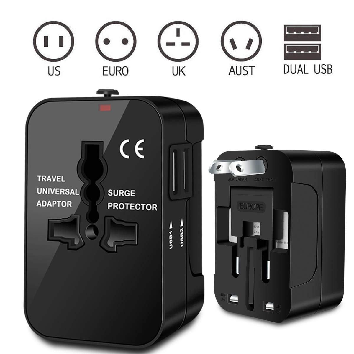 Zeuste Adaptador Enchufe Universal Enchufe de Viaje con 2 Puertos USB para EU UK USA China