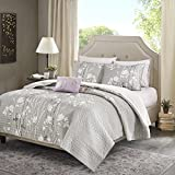 6 Piece Floral Printed Pattern Coverlet Set Twin Size, Featuring Flower Tree Branches Design Comfortable Bedding, Stylish Casual Nature Inspired Bedroom Decoration, Grey, White, Purple, Multicolor