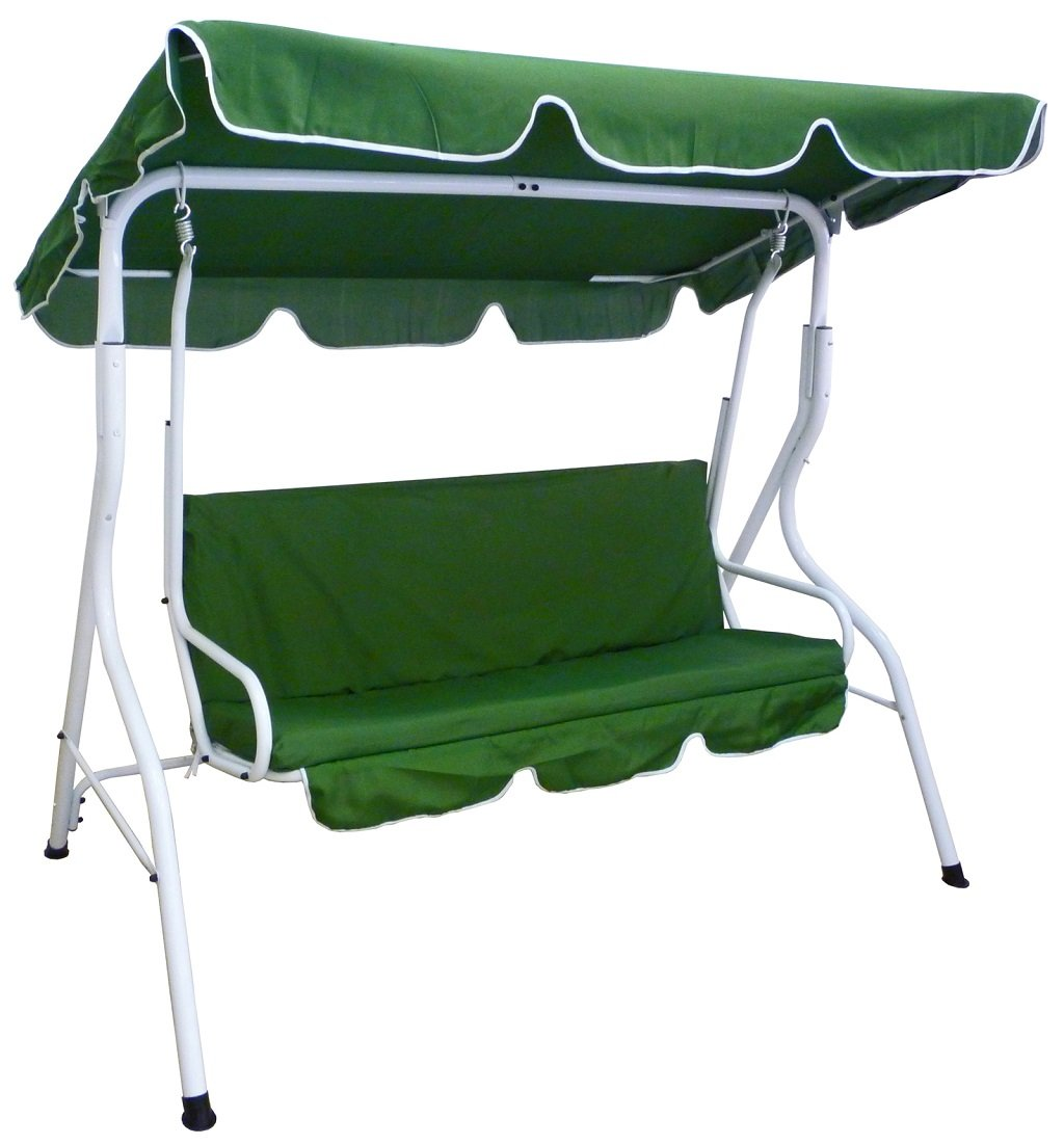 SAVINO FILIPPO SRL Dondolo verde 3 posti da giardino per esterno in metallo e ferro con cuscino e tettino per veranda terrazzo