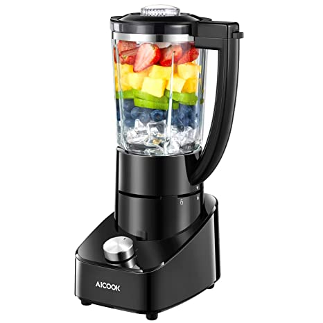 AICOOK Batidora de Vaso,700W Batidora para Smoothie de Frutas, Vegetales y Hielo,Jarra de Cristal de 1,5 litros y Cuchillas de Titanio, 2 velocidades, ...