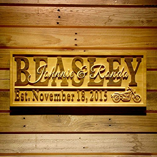 AdvPro Wood Custom wpa0370 Motorcycle Gifts Family Name First Names Personalized with Established Date Wedding Gift Wood Engraved Wooden Sign - Large 26.75