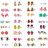 32 Pair Stainless Steel Gold Plated Mixed Color Cute Animal Food Dog Bone Popsicle Donut Star Ladybug CZ Faux Pearl Daisy Flower Stud Earring Set for Girls Kids (32 pairs-Flamingo)