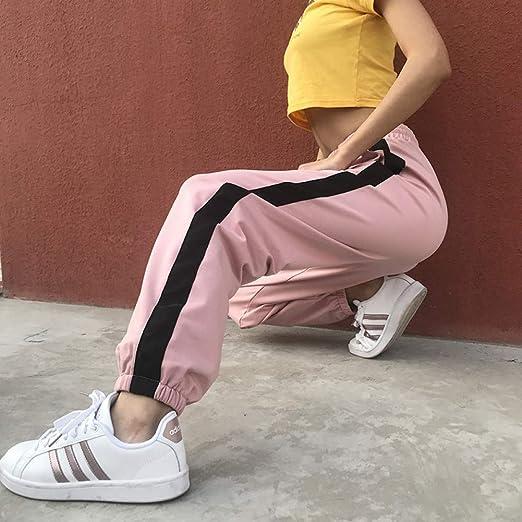 WBWANY Pantalones de chándal Mujer Pantalones Rosados Patchwork ...