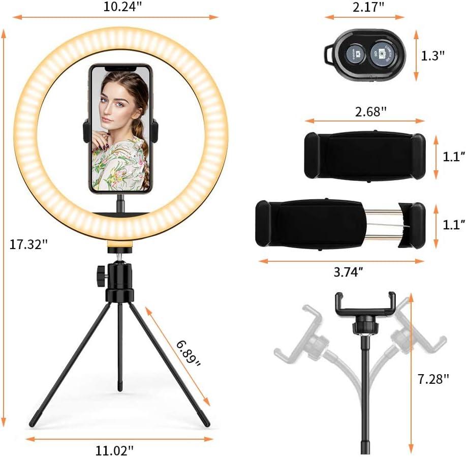 Desktop Selfie Ring Light with Remote Control &10 Brightness Level ...