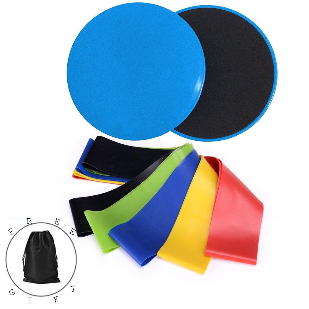 NOVECASA Yoga Gleitscheiben Gliding Discs und 5 Widerstandsbä nder Loop Bands Resistance Bands,Doppelseitig Scheiben, Widerstandsband, Fitnessbä nder Fitnessbä nder (Blau)