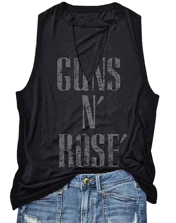 e32df753052 Amazon.com  FAYALEQ Guns N  Rose  Hollow Out V-Neck Tank Tops Letters Print  Sleeveless T-Shirt for Teen Girls Women  Clothing