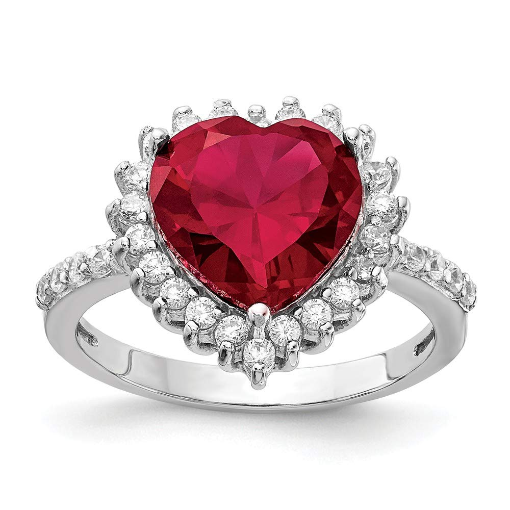 Women's Red Heart-Shaped CZ Ruby 925 Sterling Silver Costume Jewelry Ring - DeluxeAdultCostumes.com