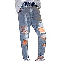 dPois Pantalones Largos Niñas Pantalone Vaquero de Algodón Estampado de Letras Casual Jeans Rotos Pantalones Anchos…