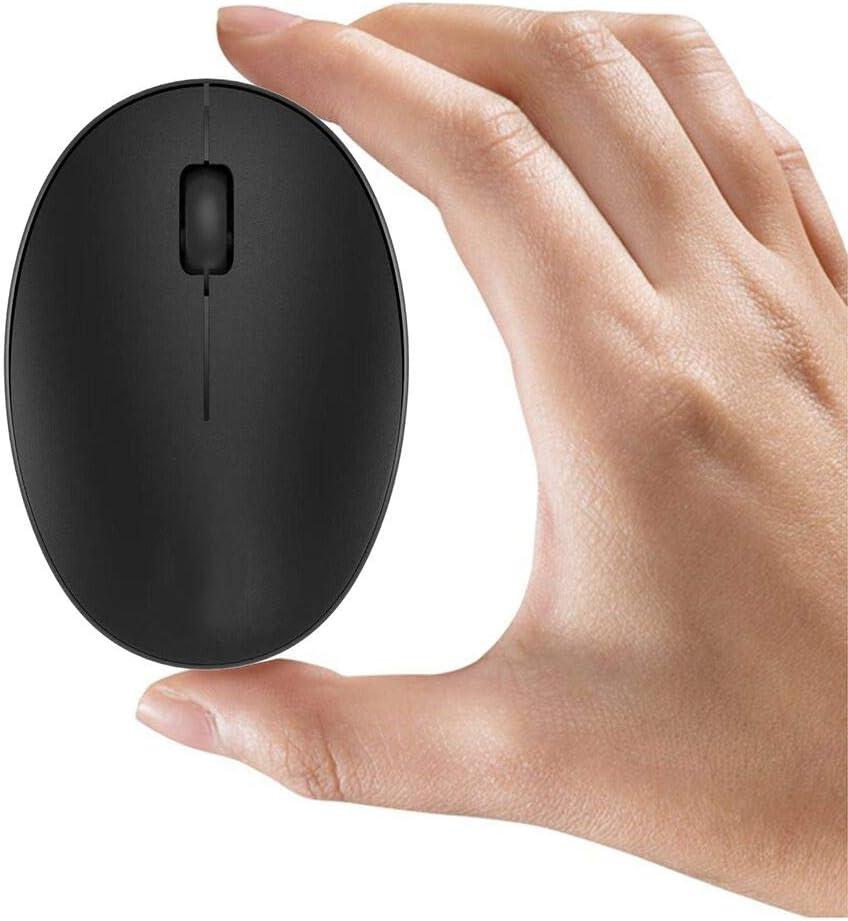 TENMOS Mini ratón inalámbrico recargable para ordenador, 2.4 GHz ratón óptico de viaje silencioso con receptor USB, apagado automático, 3 botones, 1000 DPI para ordenador portátil/PC