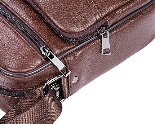Genda 2Archer Bolsa de Trabajo Clásica de Honda Bolso del Mensajero del Cuero Genuino (19cm * 8cm * 23cm)